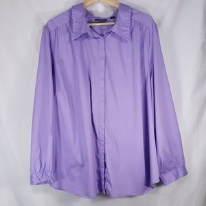 Plus Size Avenue Button Down Lavender Blouse